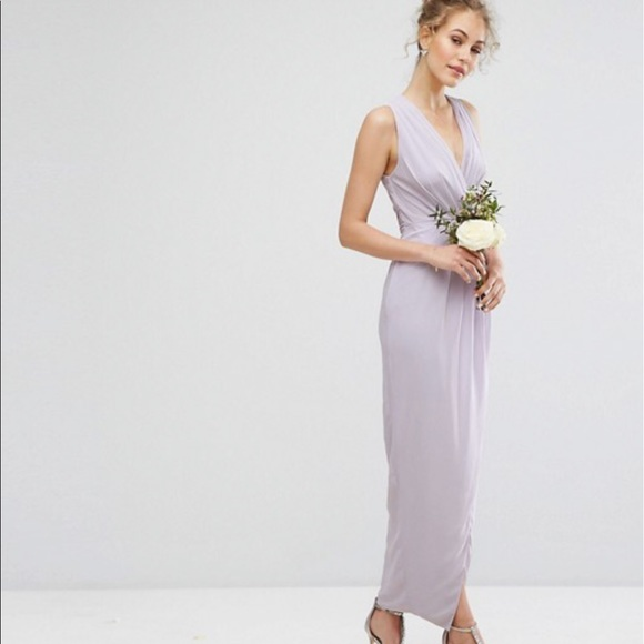 20542a197b5 Asos TFNC Wedding Wrap Maxi Dress Lilac Lustre